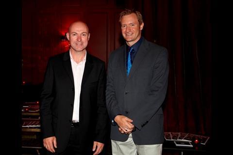 De Lane Lea CEO Huw Penallt Jones with Screen editor Mike Goodridge